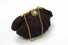 Vintage Shirred Brown and Gold Hnad Bag , Gorwood.