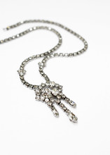 Vintage Silver and White Rhinestone JayFlex Necklace Front