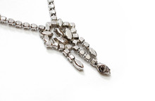 Vintage Silver and White Rhinestone JayFlex Necklace  Close Front
