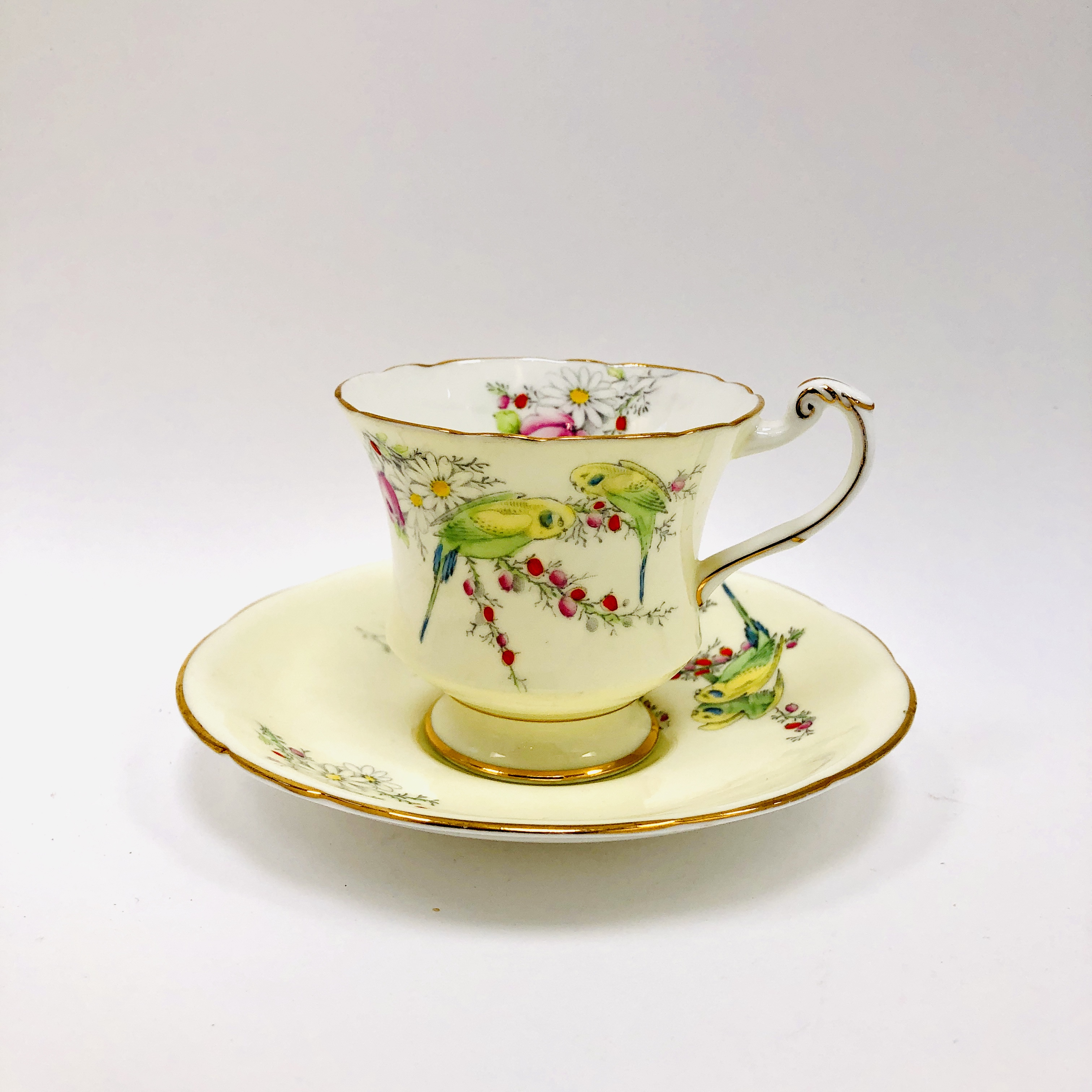 Vintage Princess Margaret Rose Footed Cup And Saucer Paragon England Budgies Parakeets Birds Cream Tea Cup Teacup Saucer Ibon Antiques