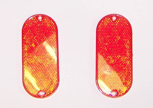 Oblong - Self Adhesive Reflector Red