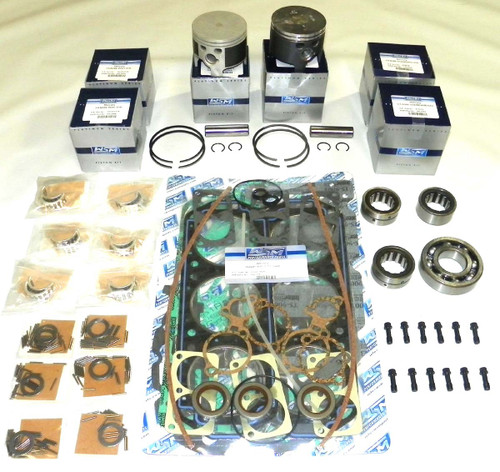 """Mercury 2.5 Liter With Head Gaskets And Carburetor 3.5"""" Bore Top Guided 6 Cyl. Power Head Rebuild Kit"""