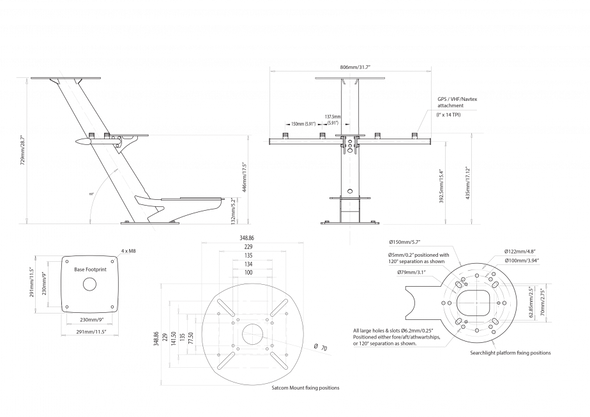 PTM-R2-S40 Tapered radar and satcom mast