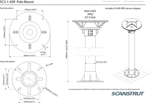 "SC2-1-45R Deck mounted Satcom pole kit 1.0m / 39"" for 45cm satcom"
