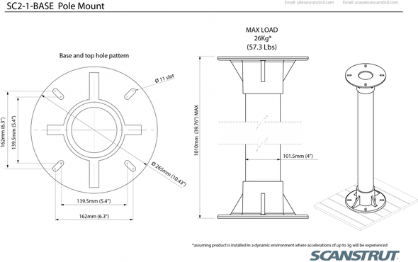 "SC2-1-BASE Deck mounted Satcom pole kit 1.0m / 39"""