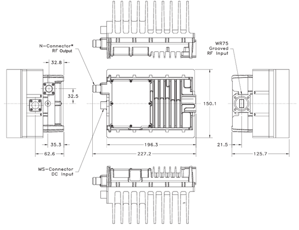 Norsat non-inverted 1081XRTSF 8W Ku-Band BUC