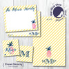 Flat Note Cards // Pink Pineapple Stationery Suite