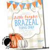 Little Punkin' // Blue and Orange // Birthday Invitation