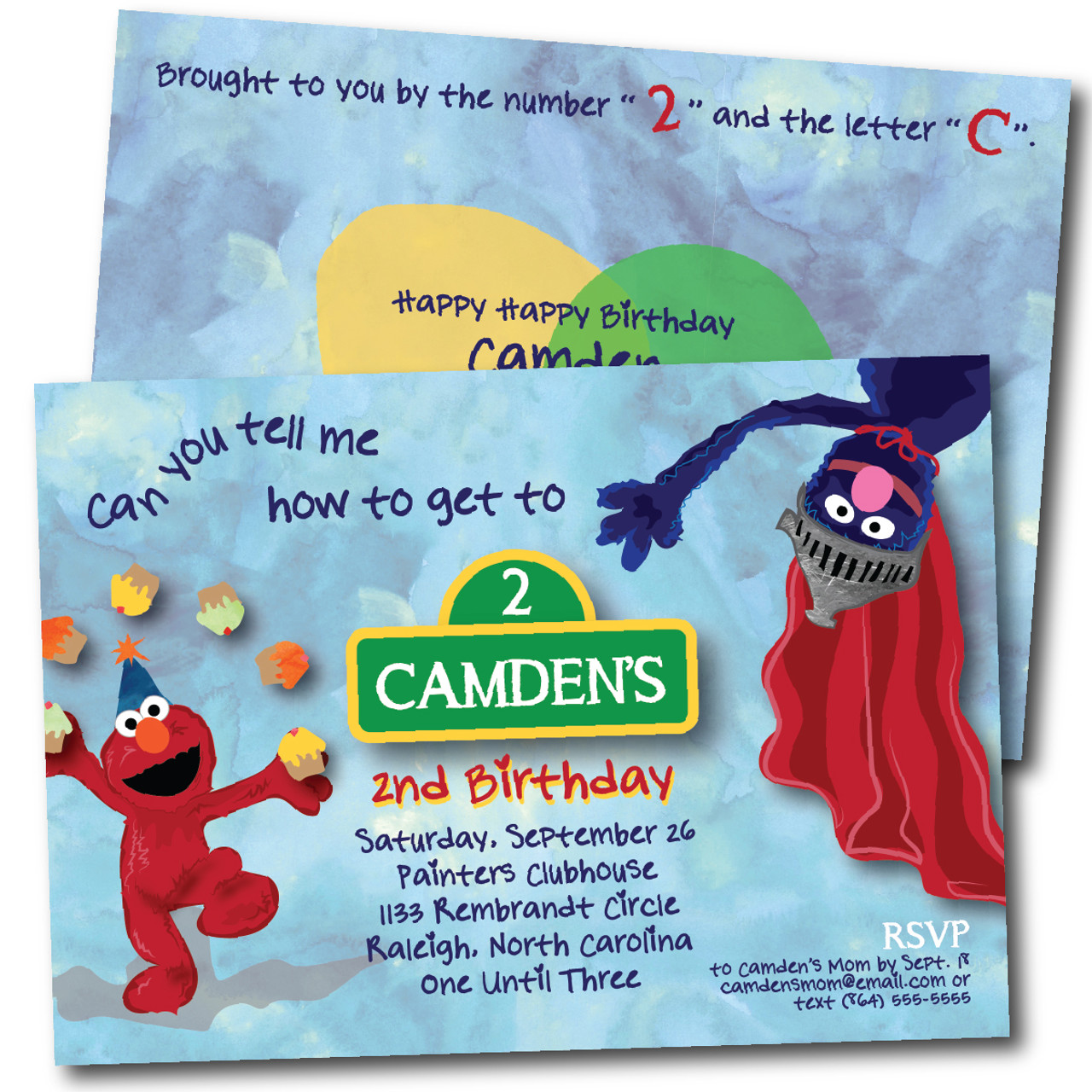 Super Grover And Elmo Birthday Party Invitation The Olive Shoe
