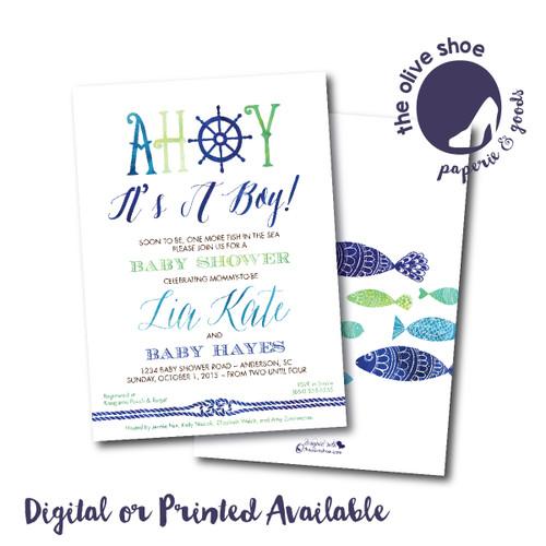 Ahoy It's A Boy // Baby Shower Invitation