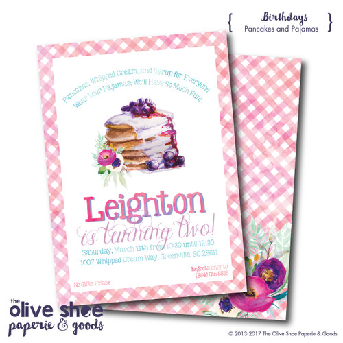 Pancakes and Pajamas // Birthday Invitation