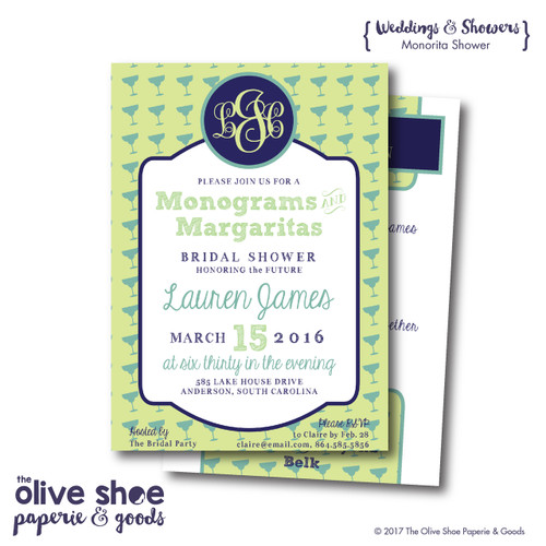 Monograms and Margaritas // Wedding Shower Invitation