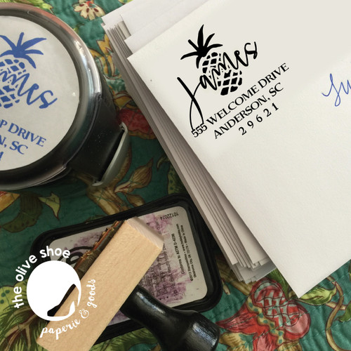 Happy Pineapple Custom Address Stamp