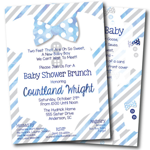 Buttons and Bow Ties // Baby Shower Invitation