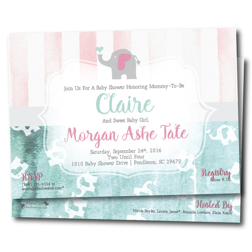 Buttermint Elephant  // Baby Shower Invitation