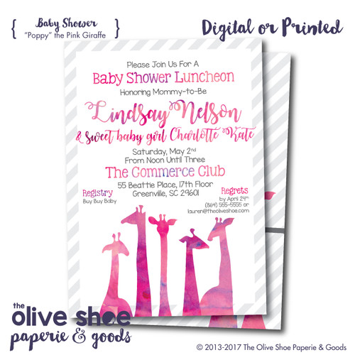 """Poppy"" the Pink Giraffe // Baby Shower Invitation"
