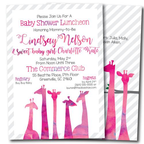 """Poppy"" the Pink Giraffe // Baby Shower Invitation"