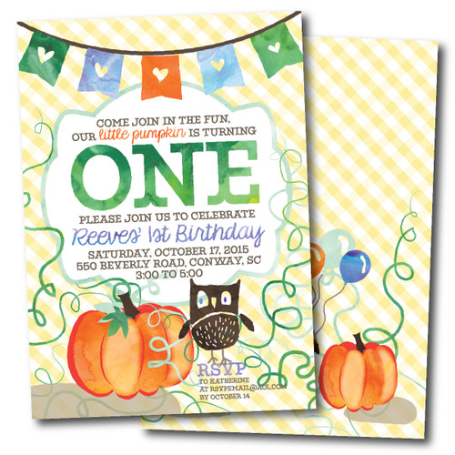 Little Pumpkin // Birthday Party Invitation