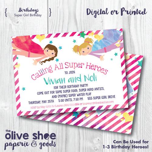 Super Girl Birthday // Birthday Party Invitation