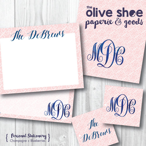 Folded Note Cards // Champagne and Blueberries Stationery Suite