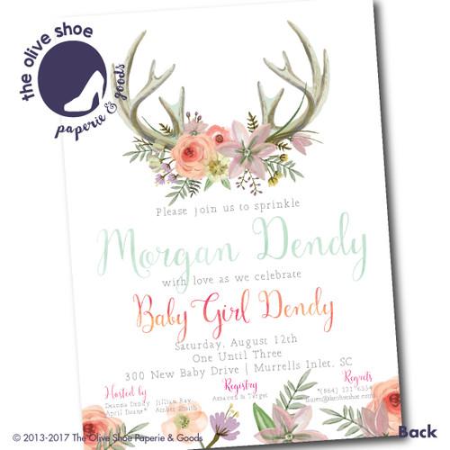 Little Bohemian Flower // Baby Shower Invitation