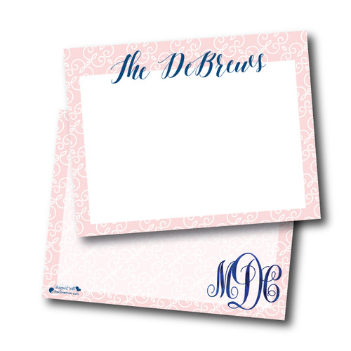 Flat Note Cards // Champagne and Blueberries Stationery Suite
