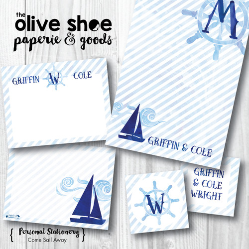 Enclosure Cards // Come Sail Away Stationery Suite