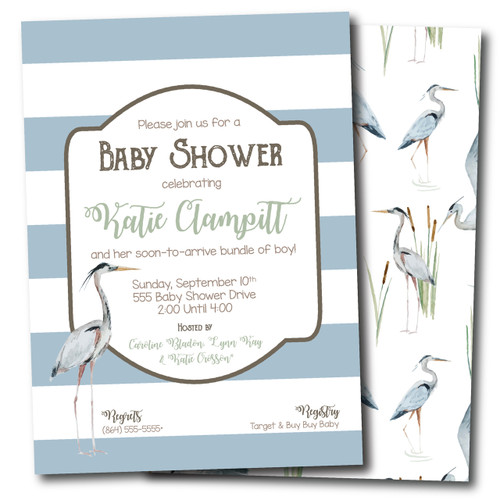 Lil Creek Rat // Blue Heron // Baby Shower Invitation