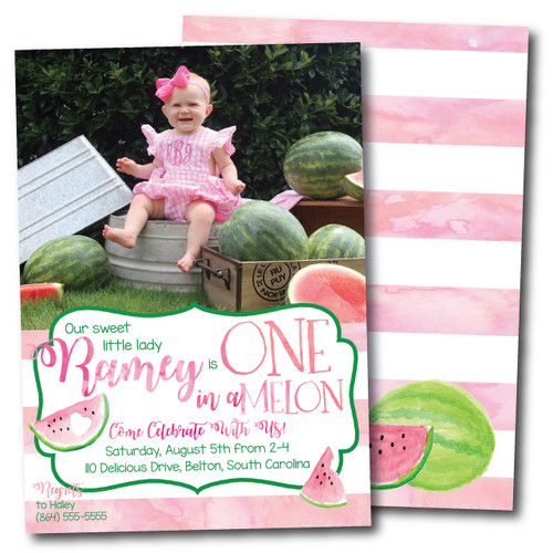 One in a Melon // Birthday Invitation