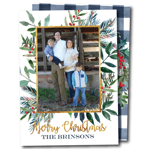 Gingham and Greenery // Holiday Card