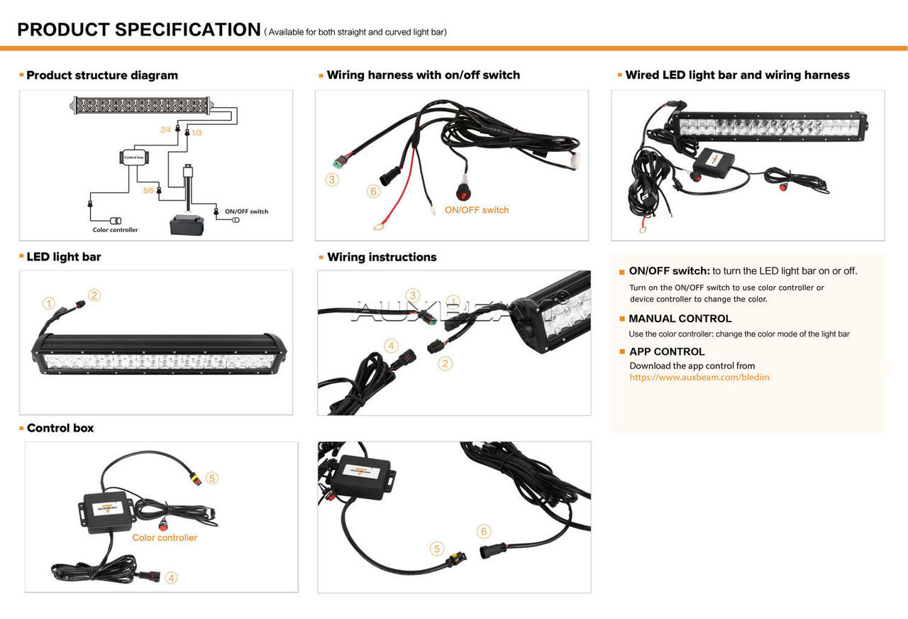 Box In Light Bar Wiring Harness Diagrams Scematic An On Off Switch Auxbeam V Series 52 300w Combo Straight Rgb Led 5d Kit