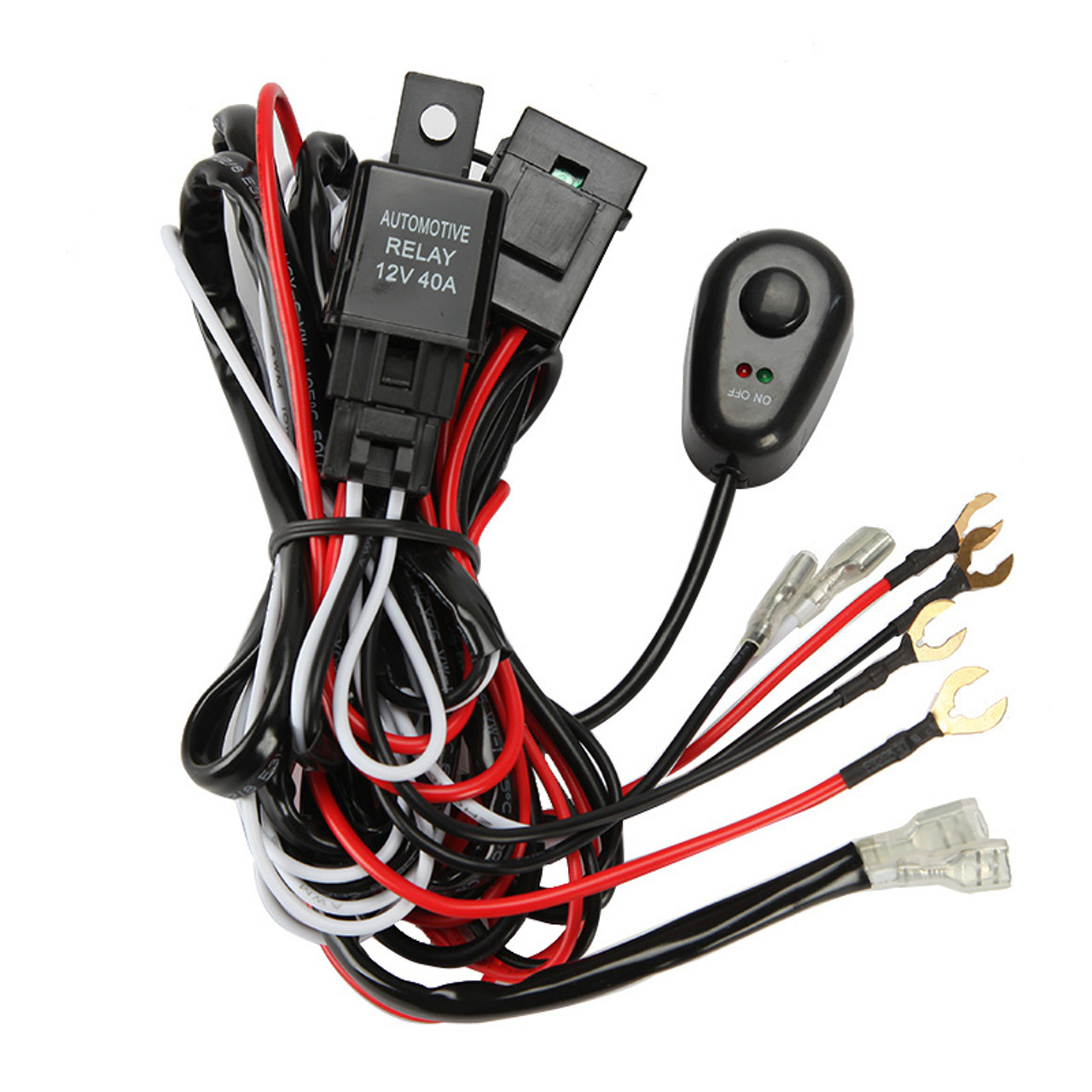 12v 40a led light bar wiring harness kit (dual lights
