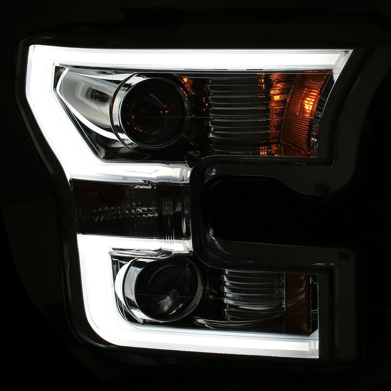 2015 2017 Ford F 150 Anzo Led Outline Projection Headlights Black Housings
