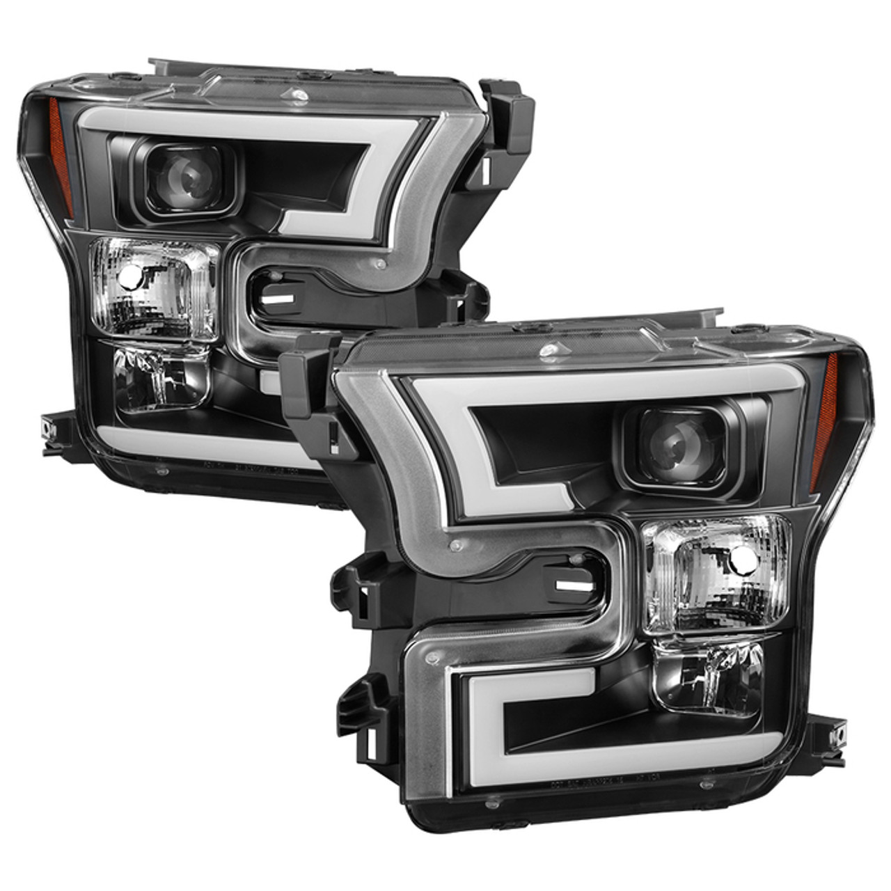 Spyder 2015-2017 Ford F-150 LED Light Bar Projector Headlights (Black)