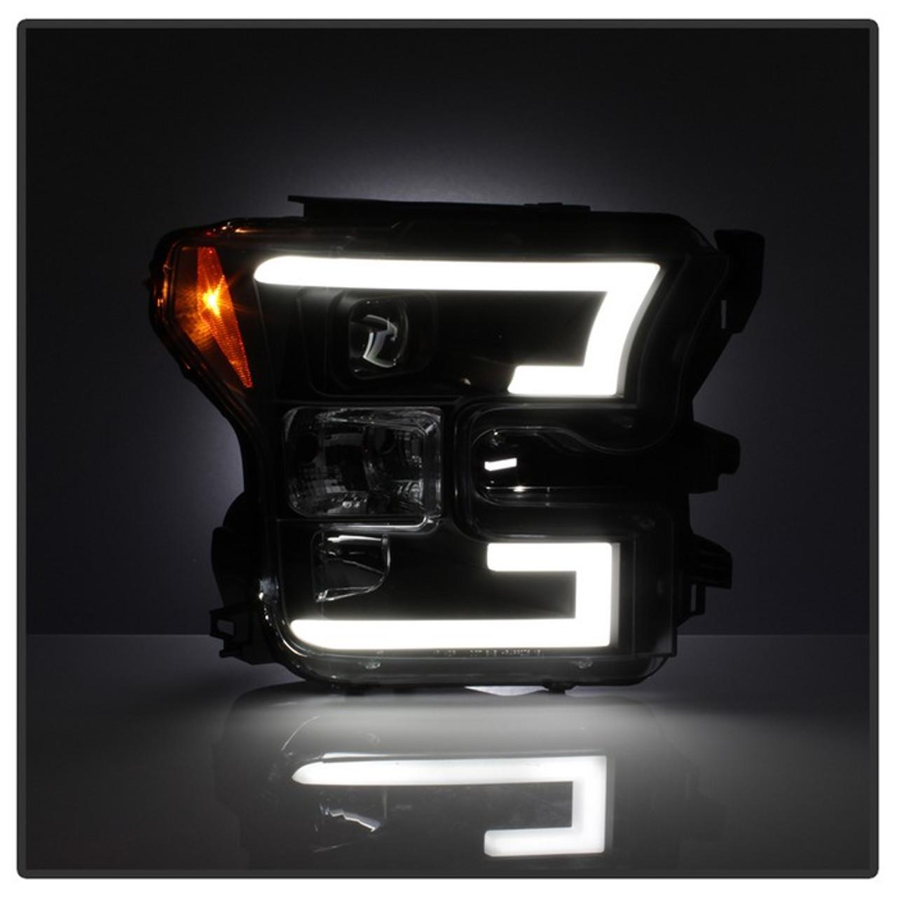 Spyder 2015 2017 Ford F 150 Led Light Bar Projector Headlights Black