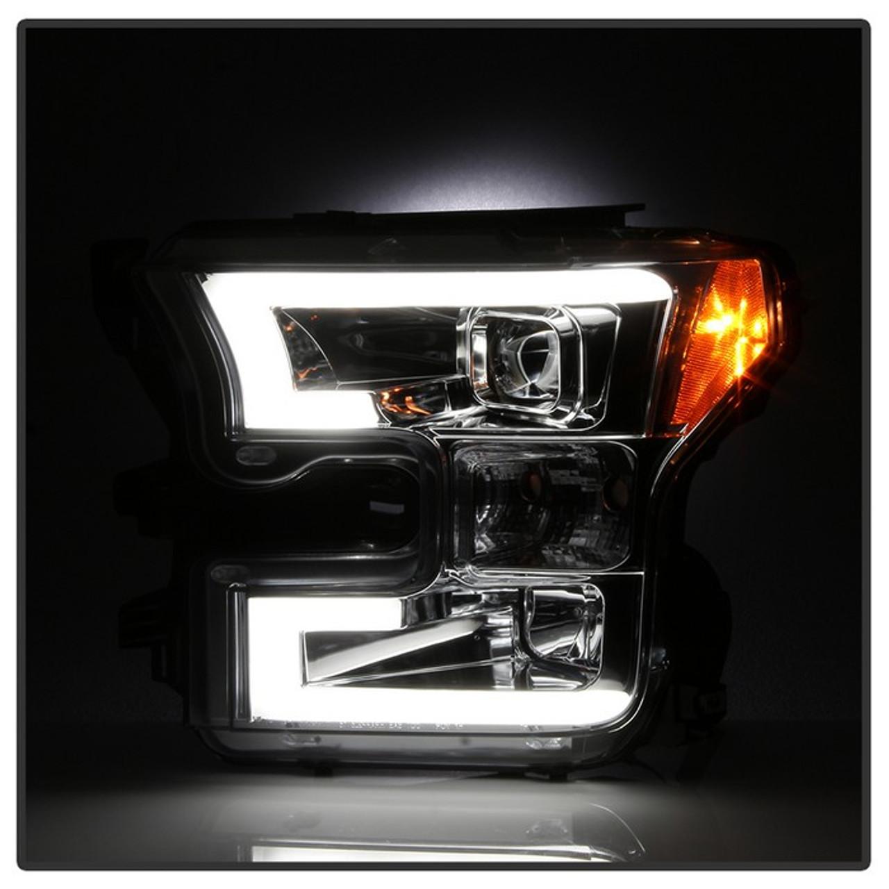 Spyder 2015-2017 Ford F-150 LED Light Bar Projector Headlights (Chrome)