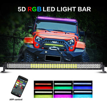 "AuxBeam V-Series 42"" 240W Combo Straight RGB LED Light Bar (5D Projector Lens)"