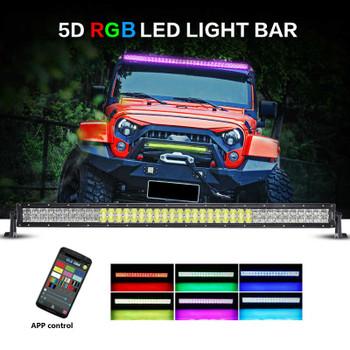 "AuxBeam V-Series 42"" 240W Combo Straight RGB LED Light Bar (5D Projector Lens)"