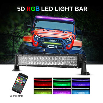 "AuxBeam V-Series 22"" 120W Combo Curved RGB LED Light Bar (5D Projector Lens)"