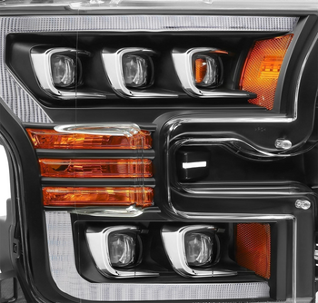 AlphaRex 15-17 Ford F150 / 17-20 F150 Raptor NOVA-Series LED Projector Headlights Black