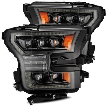 AlphaRex 15-17 Ford F150 / 17-20 F150 Raptor NOVA-Series LED Projector Headlights Mid-Night Black