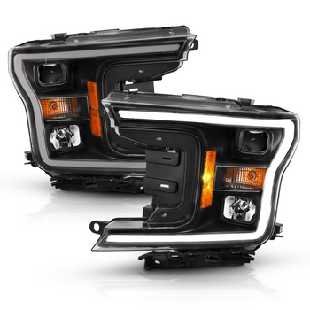 2018-2020 Ford F-150 Anzo Plank Style Projection Headlights (Black Housings)