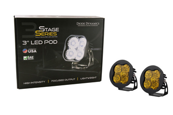 """Diode Dynamics Stage Series 3"""" Sport Yellow Flood Round (Pair)"""