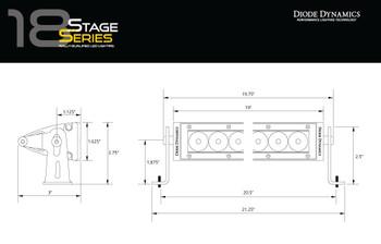 "Diode Dynamics 18"" LED Light Bar Amber Flood"