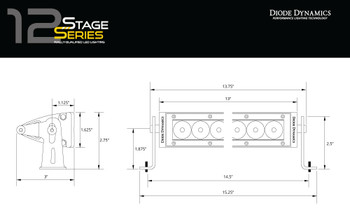"Diode Dynamics 12"" LED Light Bar Amber Flood"
