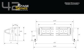 "Diode Dynamics 42"" LED Light Bar Amber Flood"