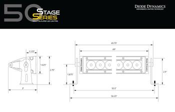 "Diode Dynamics 50"" LED Light Bar Amber Flood"