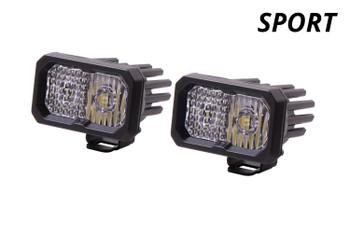 "Diode Dynamics Stage Series 2"" LED Pod Sport White Spot Standard Red Backlight"