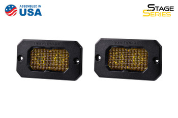"""Diode Dynamics Stage Series 2"""" LED Pod Pro Yellow Flood Flush Amber Backlight"""