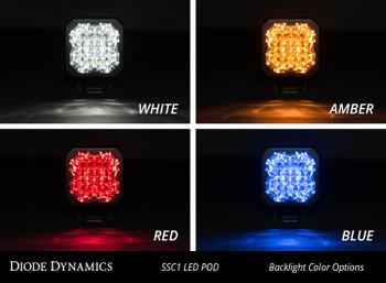 "Diode Dynamics Stage Series 1"" LED Pod Pro White Flood Standard White Backlight"